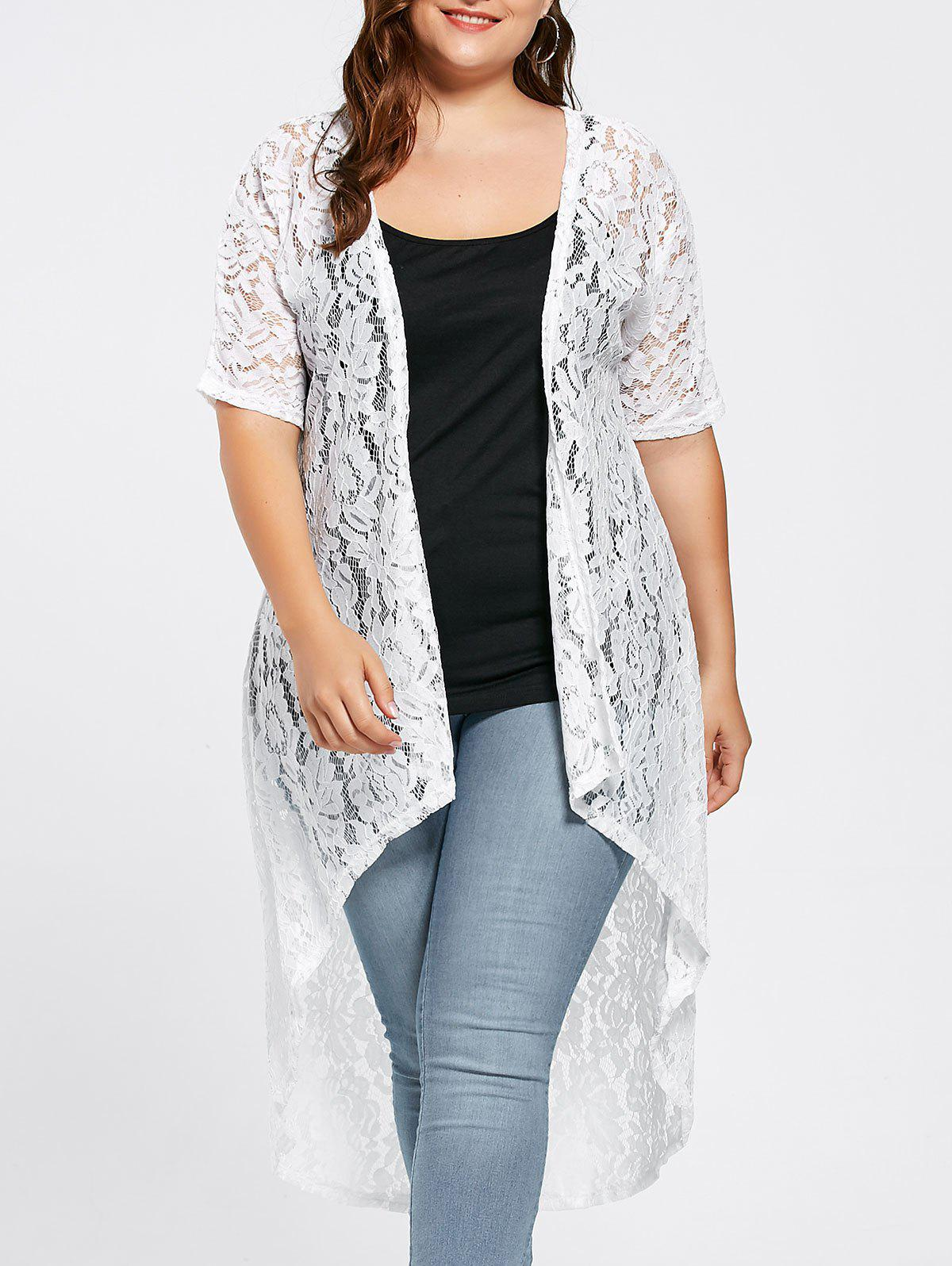 Plus Size  Long Open Front Lace Crochet CardiganWOMEN<br><br>Size: 5XL; Color: WHITE; Clothes Type: Others; Material: Cotton Blends,Polyester; Type: Asymmetric Length; Shirt Length: X-Long; Sleeve Length: Three Quarter; Collar: Collarless; Pattern Type: Solid; Embellishment: Lace; Style: Fashion; Season: Fall,Spring; Weight: 0.2700kg; Package Contents: 1 x Cardigan;