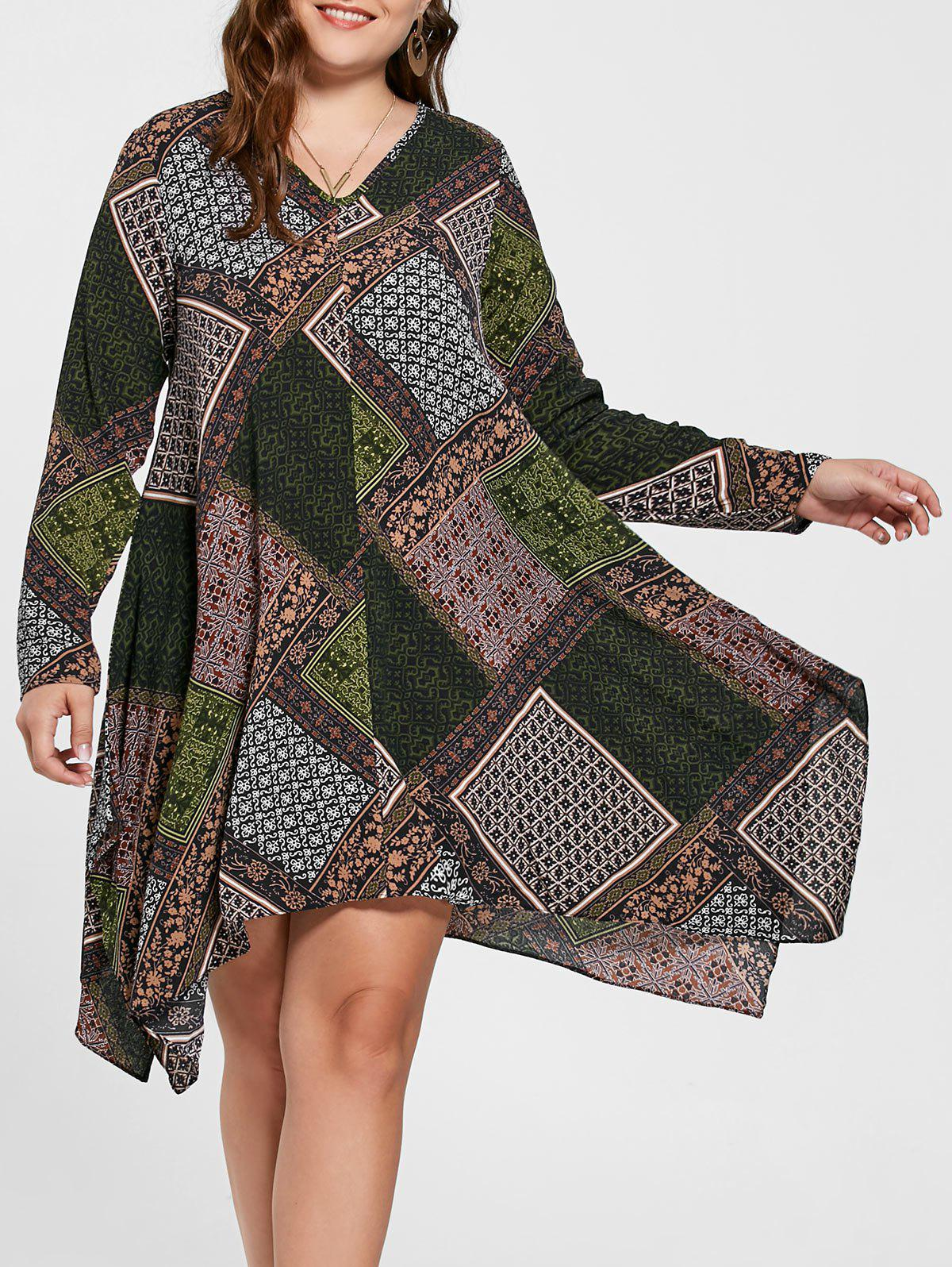 Plus Size Geometric Handkerchief DressWOMEN<br><br>Size: 4XL; Color: MULTICOLOR; Style: Casual; Material: Cotton,Polyester; Silhouette: Asymmetrical; Dresses Length: Knee-Length; Neckline: V-Neck; Sleeve Length: Long Sleeves; Pattern Type: Geometric; With Belt: No; Season: Fall; Weight: 0.2800kg; Package Contents: 1 x Dress;