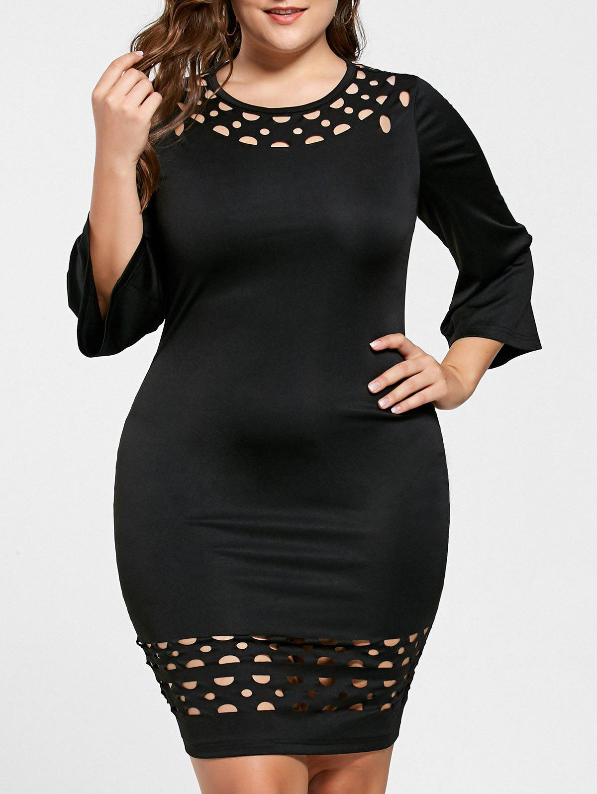 Plus Size Openwork Insert Tight DressWOMEN<br><br>Size: XL; Color: BLACK; Style: Brief; Material: Polyester,Spandex; Silhouette: Sheath; Dresses Length: Knee-Length; Neckline: Round Collar; Sleeve Length: 3/4 Length Sleeves; Pattern Type: Solid Color; With Belt: No; Season: Fall,Spring,Summer; Weight: 0.2700kg; Package Contents: 1 x Dress;