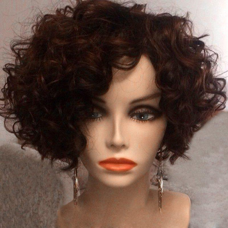 Short Inclined Bang Afro Fluffy Curly Synthetic WigHAIR<br><br>Color: BROWN; Type: Full Wigs; Cap Construction: Capless; Style: Curly; Material: Synthetic Hair; Bang Type: Side; Length: Short; Length Size(CM): 31; Weight: 0.1670kg; Package Contents: 1 x Wig;