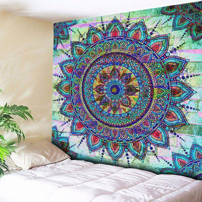 Bohemian Mandala Brick Wall Print TapestryHOME<br><br>Size: W59 INCH * L59 INCH; Color: COLORMIX; Style: Bohemian; Material: Cotton,Polyester; Feature: Removable,Washable; Shape/Pattern: Floral,Wall; Weight: 0.2000kg; Package Contents: 1 x Tapestry;