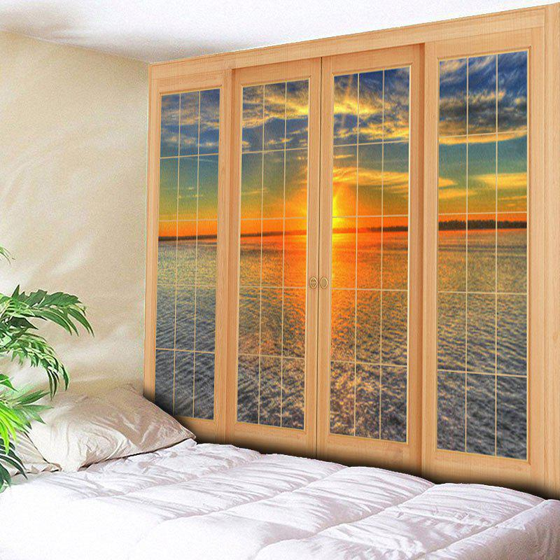 Wall Hanging Window Sea Print TapestryHOME<br><br>Size: W79 INCH * L59 INCH; Color: COLORMIX; Style: Natural; Theme: Landscape; Material: Cotton,Polyester; Feature: Removable,Washable; Shape/Pattern: Water,Window; Weight: 0.3000kg; Package Contents: 1 x Tapestry;