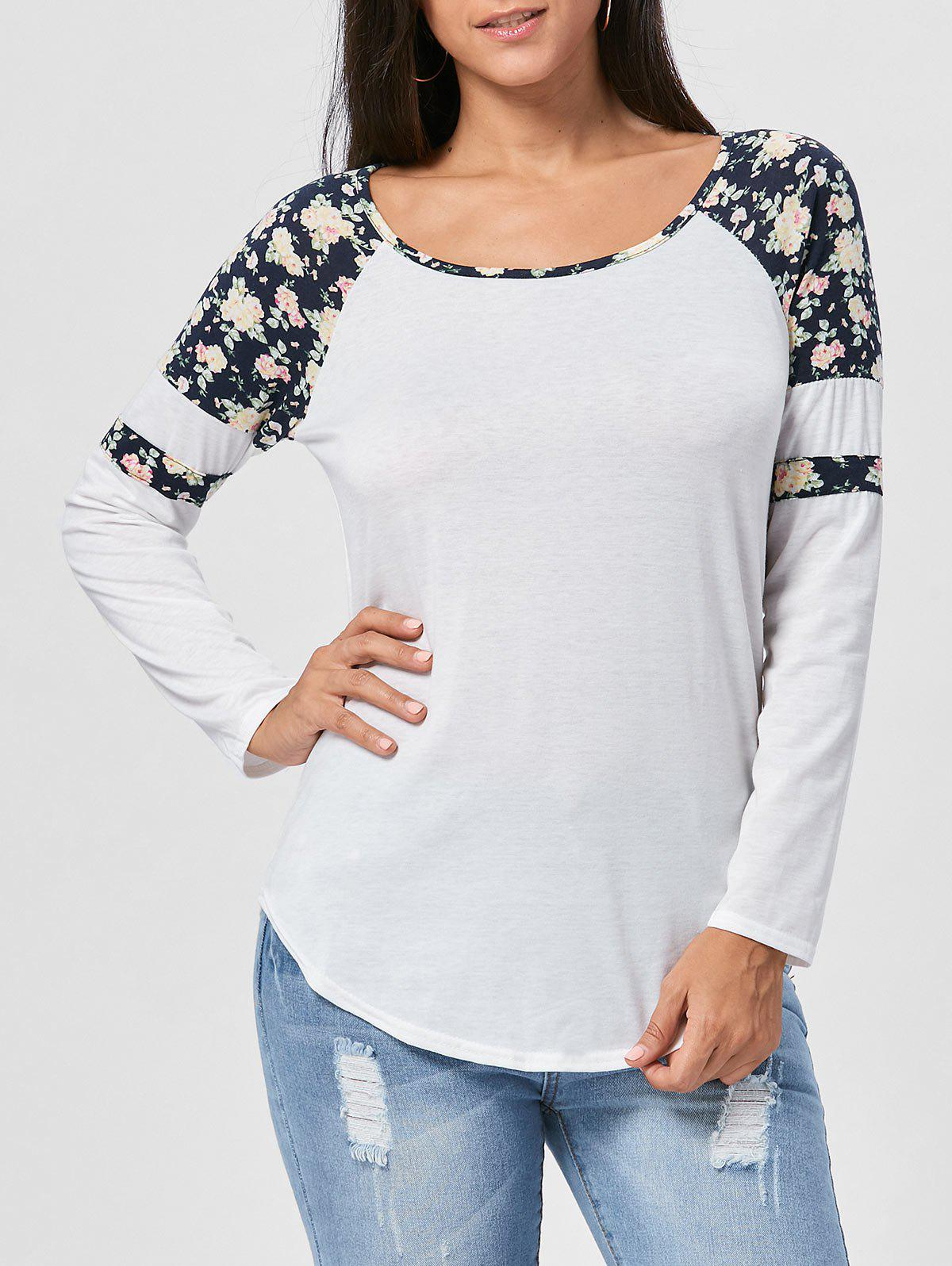 Outfit Floral Raglan Sleeve T-shirt