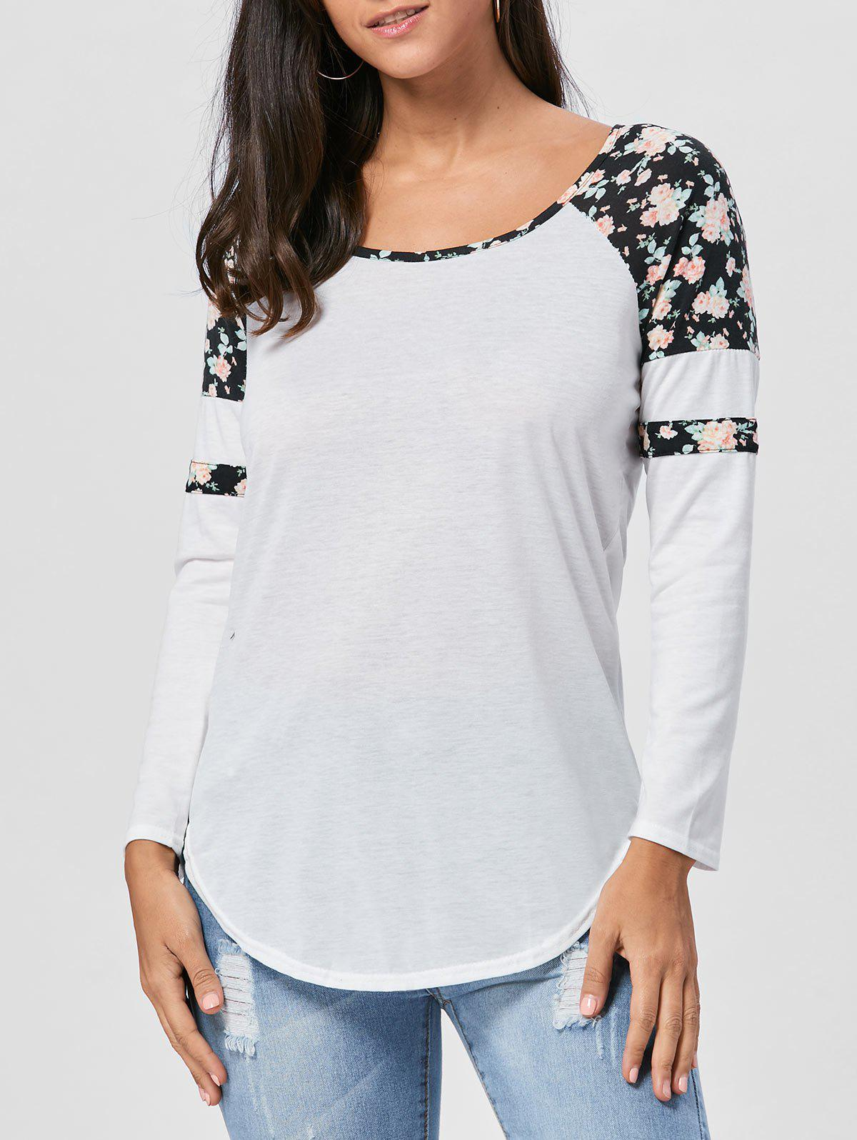 Fashion Floral Raglan Sleeve T-shirt