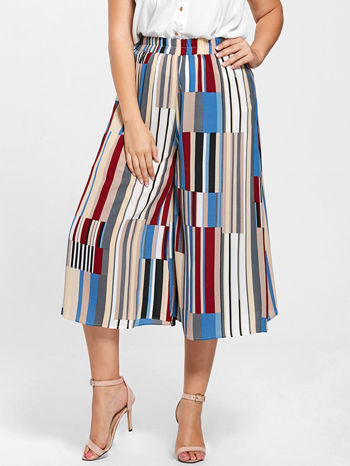 Geometric Print Plus Size Palazzo Capri PantsWOMEN<br><br>Size: 4XL; Color: MULTICOLOR; Style: Fashion; Length: Capri; Material: Polyester; Fit Type: Loose; Waist Type: Mid; Closure Type: Elastic Waist; Pattern Type: Geometric; Pant Style: Wide Leg Pants; With Belt: No; Weight: 0.3100kg; Package Contents: 1 x Pants;