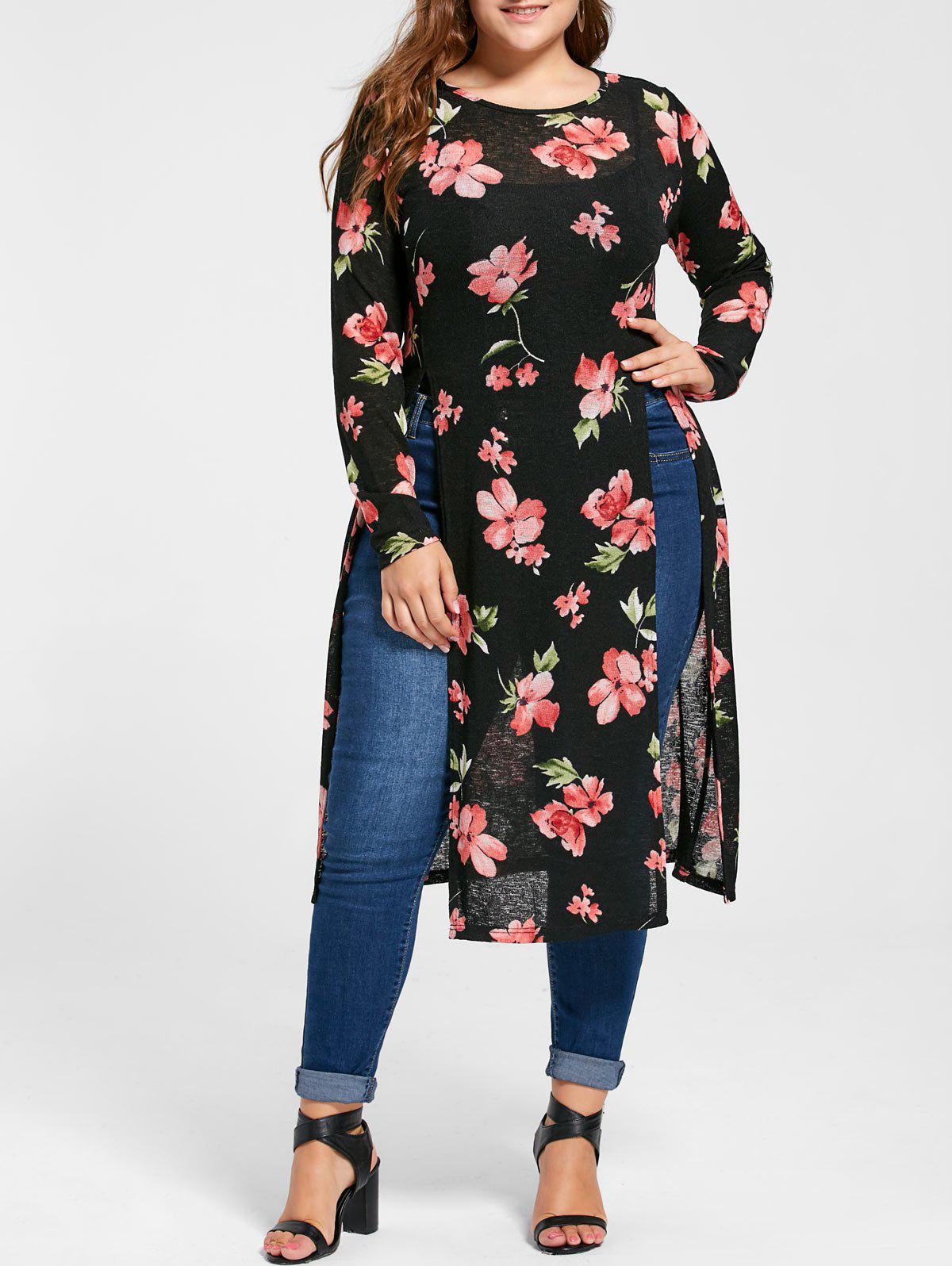 Plus Size Floral High Slit Longline TeeWOMEN<br><br>Size: 4XL; Color: BLACK; Material: Polyester; Shirt Length: Long; Sleeve Length: Full; Collar: Round Neck; Style: Fashion; Season: Fall,Spring,Summer; Pattern Type: Floral; Weight: 0.3200kg; Package Contents: 1 x T-shirt;