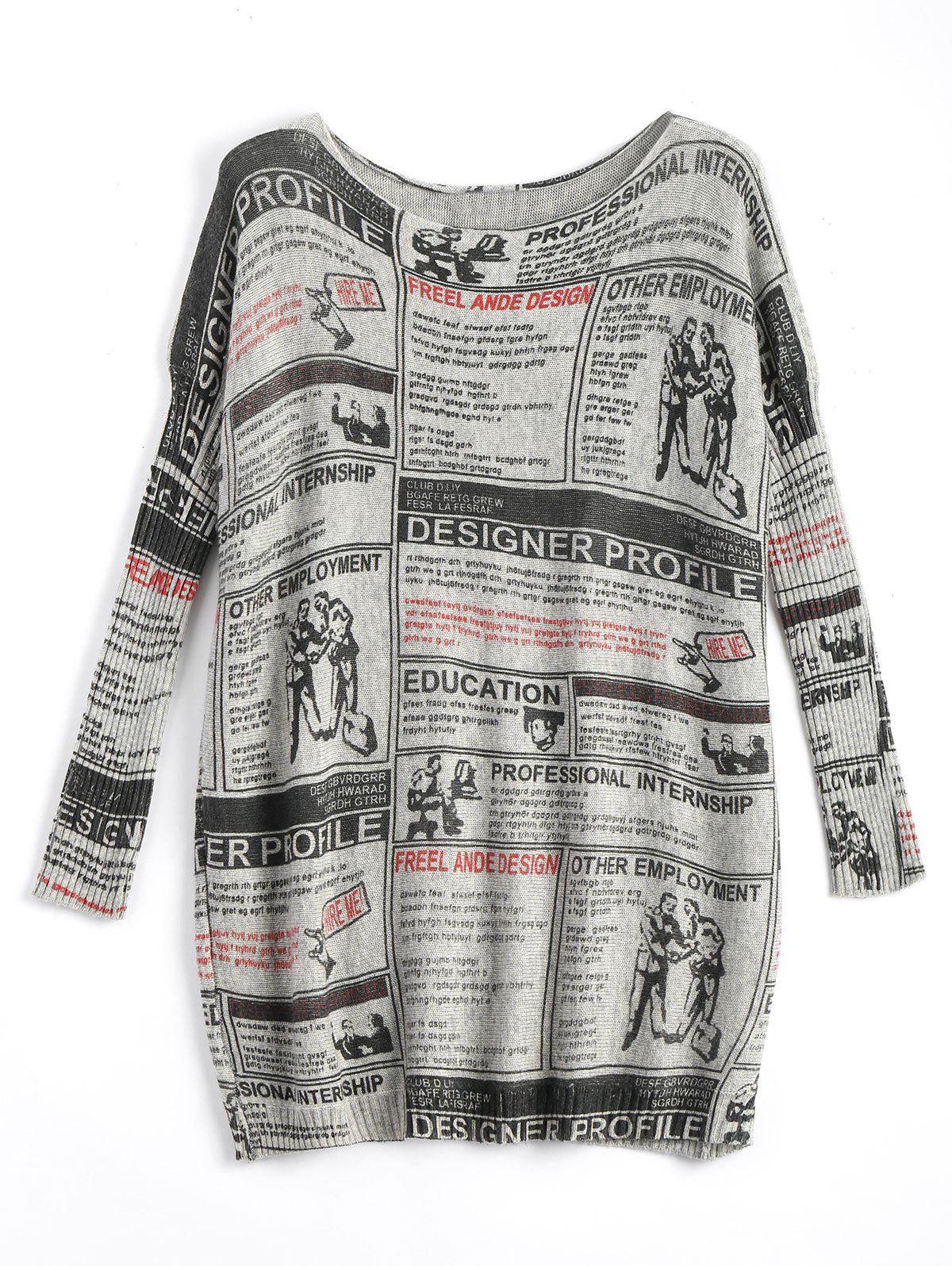 Fashion Plus Size Newspaper Printed Vintage Long Sweater