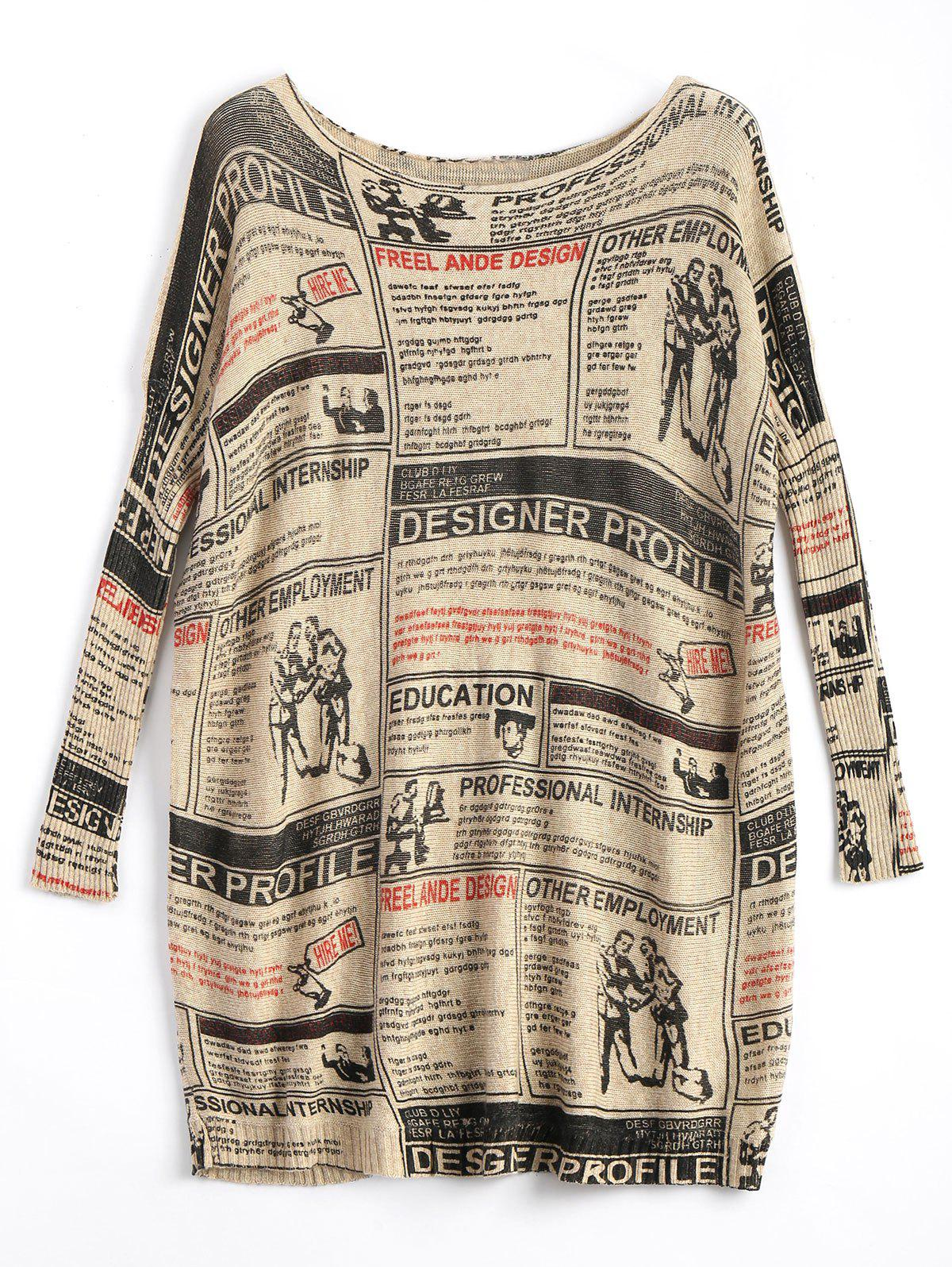Hot Plus Size Newspaper Printed Vintage Long Sweater