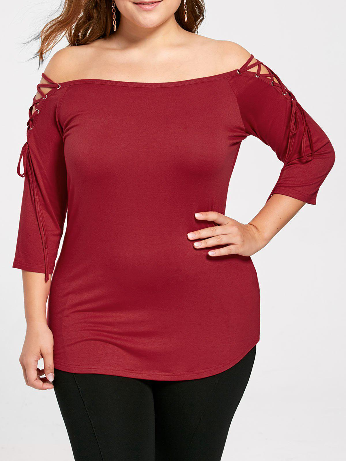 Plus Size Off The Shoulder TopWOMEN<br><br>Size: 2XL; Color: RED; Material: Rayon,Spandex; Shirt Length: Regular; Sleeve Length: Three Quarter; Collar: Off The Shoulder; Style: Casual; Season: Fall,Spring,Summer; Pattern Type: Solid; Weight: 0.2400kg; Package Contents: 1 x Top;