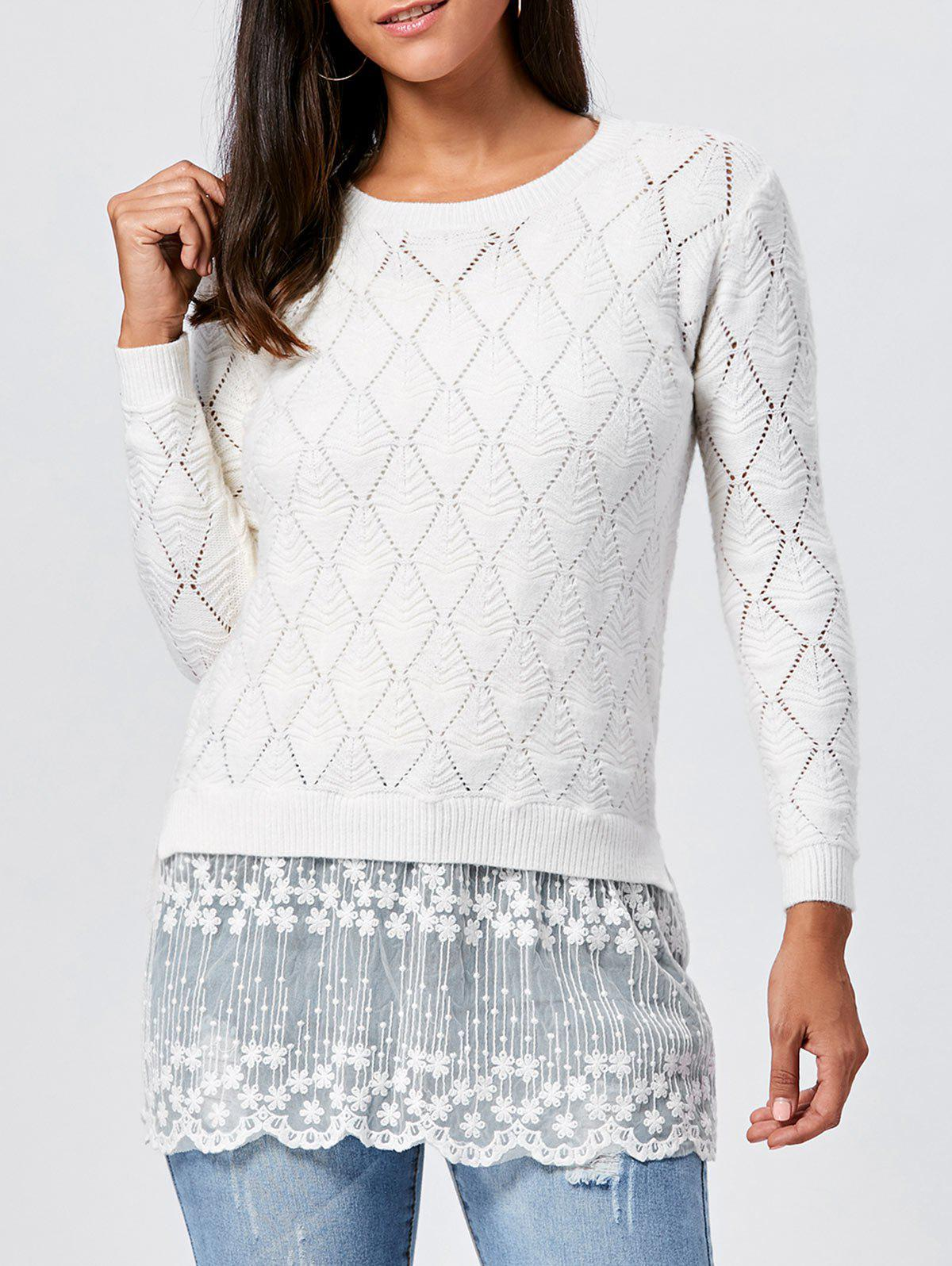 Lace Panel Hollow Out Argyle Ribbed Pullover Sweater 222107103