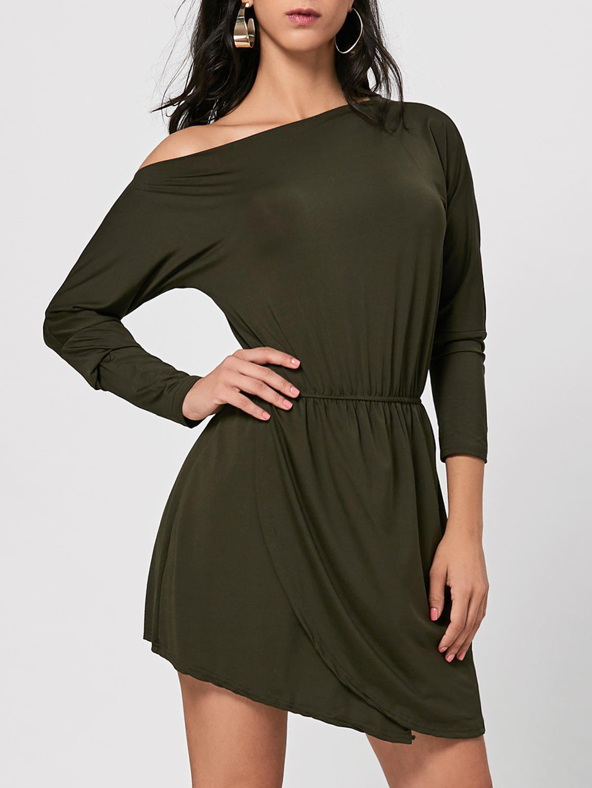 New Asymmetrical Skew Neck Mini Dress