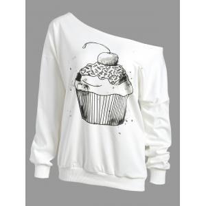 Cake Print Drop Shoulder Skew Neck Sweatshirt