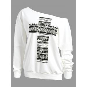 Cross Print Drop Shoulder Skew Neck Sweatshirt