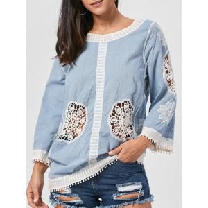 Fringed Hollow Out Floral Crochet Blouse