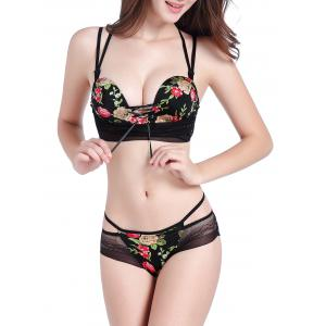 Floral Push Up Caged Bra Set