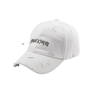 Safety Pin Circle Letters Broken Hole Baseball Hat -