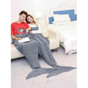 Super Soft Knitted Mermaid Blanket For Lovers - GRAY 180*155CM