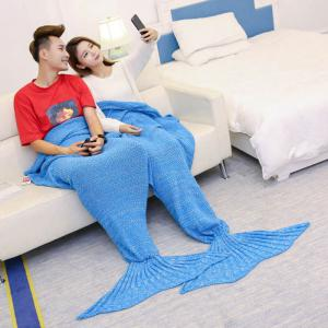 Super Soft Knitted Mermaid Blanket For Lovers - ICE BLUE 180*155CM
