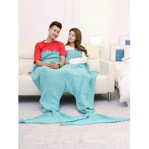 Super Soft Knitted Mermaid Blanket For Lovers - TURQUOISE GREEN 180*155CM