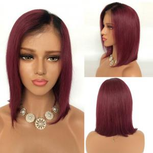 Short Side Part Straight Bob Ombre Lace Front Human Hair Wig - Black And Red - 20inch