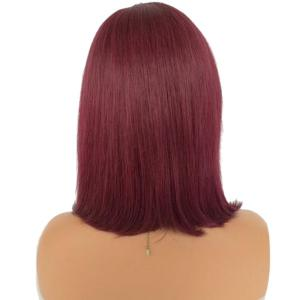 Short Side Part Straight Bob Ombre Lace Front Human Hair Wig - BLACK AND RED