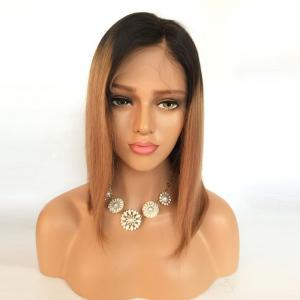 Short Side Part Straight Bob Ombre Lace Front Human Hair Wig -