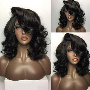 Lace Front Short Body Wave Bob Human Hair Wigs With Deep Wavy Bang - Natural Black