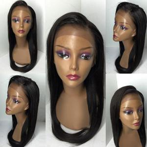 Free Part Long Braids Straight Lace Front Human Real Hair Wig - BLACK