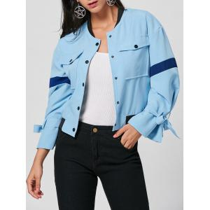 Pockets Bell Sleeve Bomber Jacket