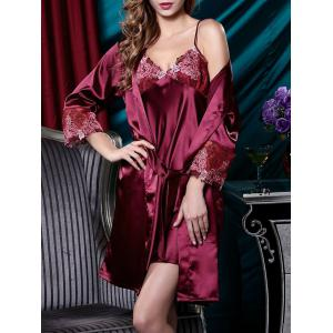 Embroidery Satin Cami Dress with Robe - Dark Red - Xl