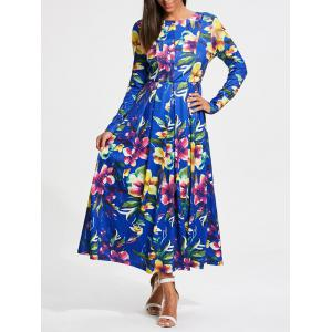 Full Flower Print Long Sleeve Maxi Dress
