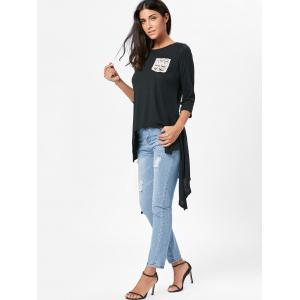 High Low Asymmetric Long Sleeve T-shirt - BLACK M