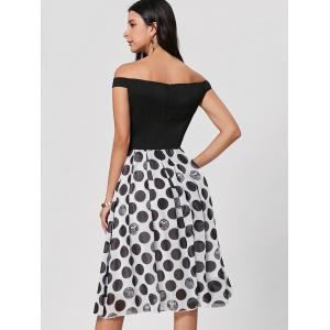 Polka Dot Off The Shoulder - Robe Midi - Noir M