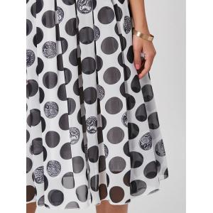 Polka Dot Off The Shoulder Midi Dress - BLACK 2XL