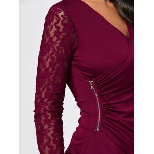 Asymmetrical Zipper Draped Lace Insert T-shirt - WINE RED XL