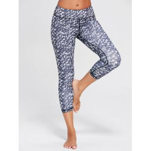 Printed High Waist Capri Yoga Tights - Blue Gray - Xl