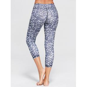 Printed High Waist Capri Yoga Tights - BLUE GRAY XL