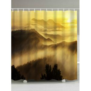 Sunrise Mountains Print Fabric Waterproof Bathroom Shower Curtain - Yellow - W71 Inch * L79 Inch