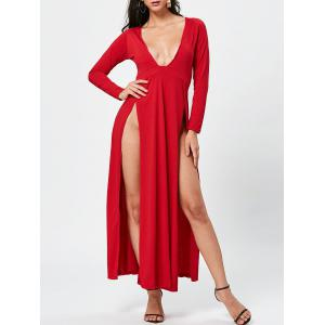 Chic Women's Plunging Neck Long Sleeve High Furcal Dress - Red - L
