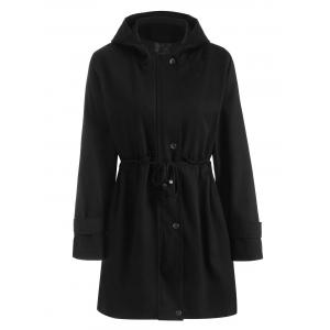 Hooded Zipper Drawstring Waist Plus Size Coat - Black - 3xl