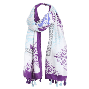 Tassels Retro Ombre Floral Printing Shawl Scarf -