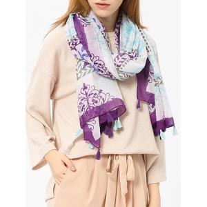 Tassels Retro Ombre Floral Printing Shawl Scarf