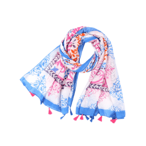 Tassels Retro Ombre Floral Printing Shawl Scarf - Bleu