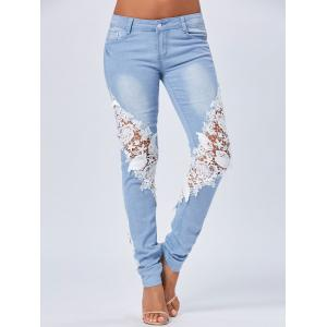 Lace Insert Staright Jeans - Blue - Xl