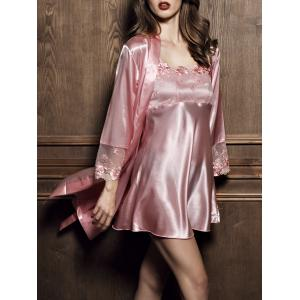 Satin Slip Dress with Kimono Robe