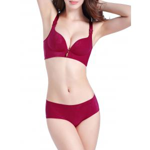 Push Up Seamless Jacquard Bra Set - Wine Red - 90c
