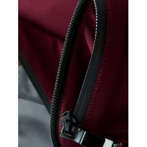 Suture Panel Stand Collar Zip Up Jacket - Rouge 5XL