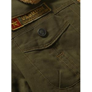 Chest Flap Pocket Faux Shearling Jacket - ARMY GREEN M