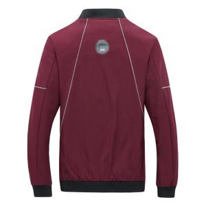 Suture Panel Stand Collar Zip Up Jacket - Rouge 2XL