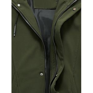 Zip Pocket Hooded Graphic Braid Jacket - ARMY GREEN 2XL
